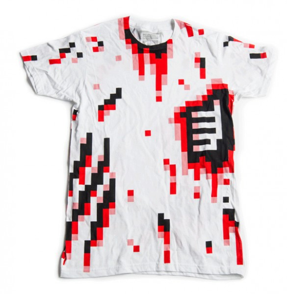 8-Bit-Zombie-blood pixels Halloween T-Shirt custom design