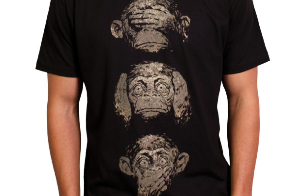 Daily Tee 3 wise monkeys custom t-shirt design by moutchy main image