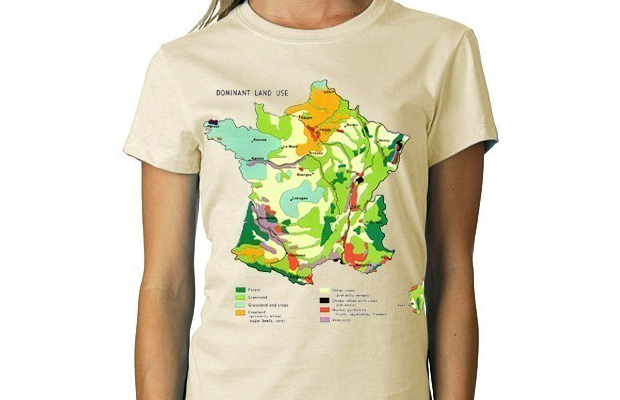 French Land Usage Tee Historical Political Map American Apparel WOMENS Custom main image