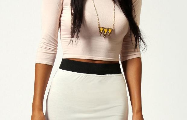 Helena Contrast Waistband Jersey Maxi Skirt white main image