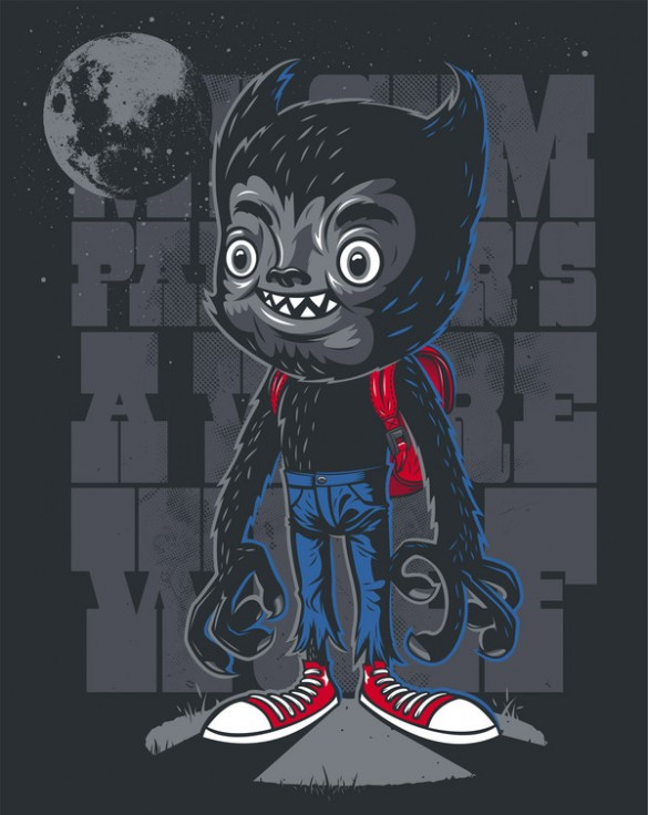 My Gym Partner's A Werewolf custom tee design by Rubens Scarelli