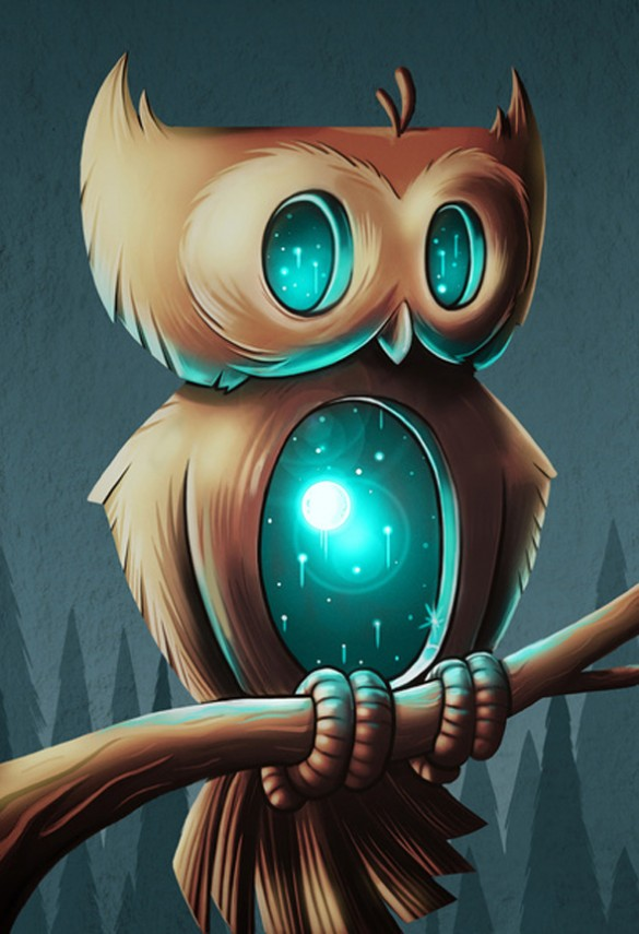 Night Owl by Chump Magic robotic blue brown custom t-shirt design