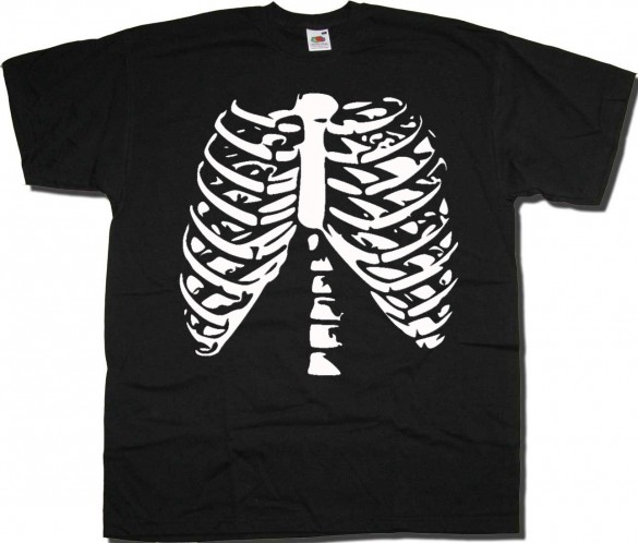 rib cage halloween t shirt custom design