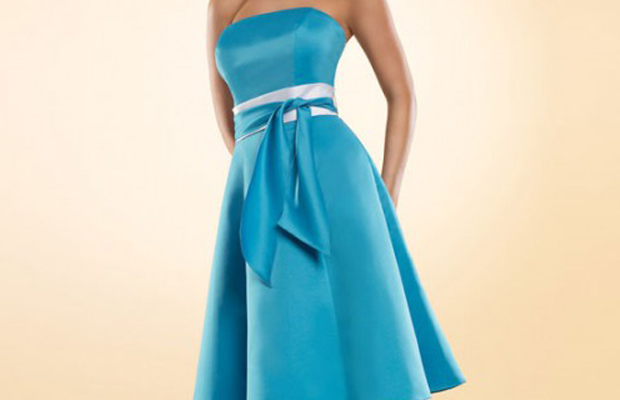 STRAPLESS A-LINE WITH ZIPPER BACK SATIN BRIDESMAID DRESS main image