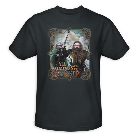 The Hobbit An Unexpected Journey All Wrongs Avenged Charcoal Shirt official t shirt design 585x585 The Hobbit: An Unexpected Journey, 12 beautiful official t shirt designs