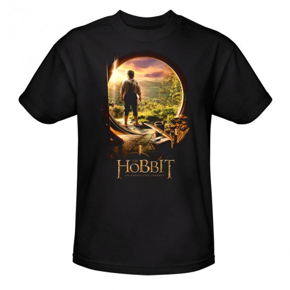 The Hobbit An Unexpected Journey Bilbo Baggins Through the Door Black Tee official t-shirt design