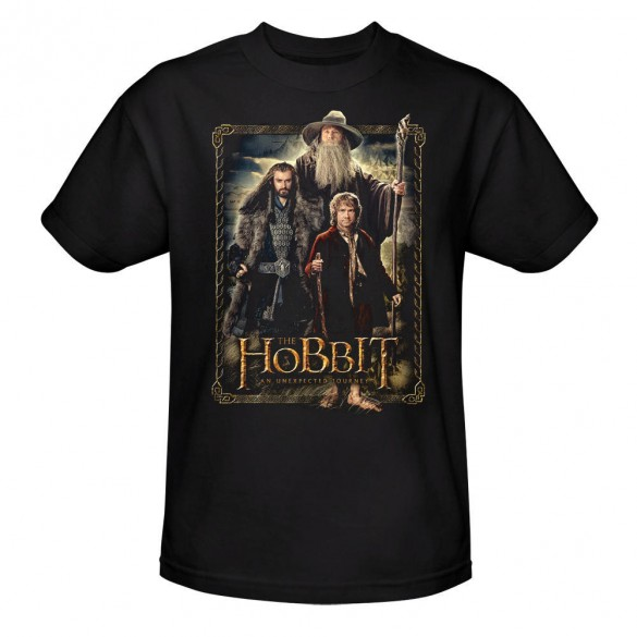 The Hobbit An Unexpected Journey Bilbo, Gandalf and Thorin Black Tee official t-shirt design