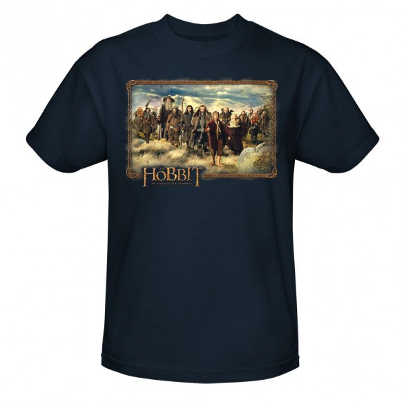 The Hobbit An Unexpected Journey Cast Navy Tee official t shirt design 585x585 The Hobbit: An Unexpected Journey, 12 beautiful official t shirt designs