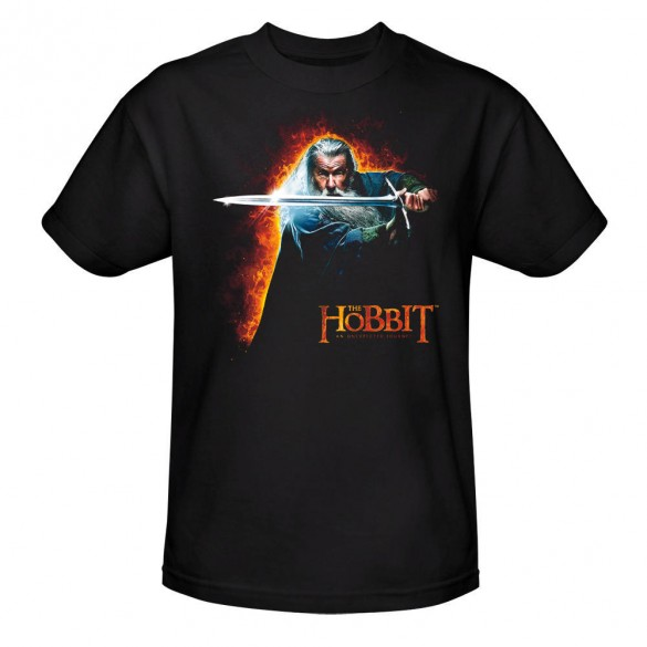 The Hobbit An Unexpected Journey Gandalf with Sword Black Tee official t-shirt design