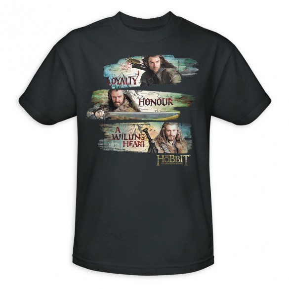 The Hobbit An Unexpected Journey Loyalty and Honor Charcoal Shirt official t shirt design 585x585 The Hobbit: An Unexpected Journey, 12 beautiful official t shirt designs