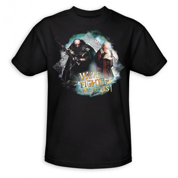 The Hobbit An Unexpected Journey We&#039;re Fighters Black Shirt official t-shirt design