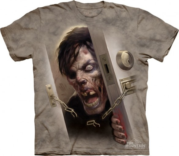 Zombie At the Door Halloween T-Shirt custom design