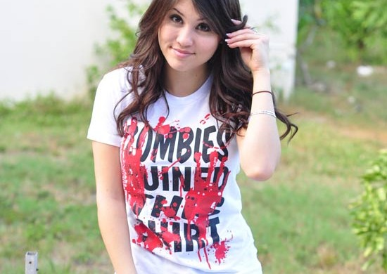 Zombies Ruined This Shirt type blood Halloween T-Shirt custom design