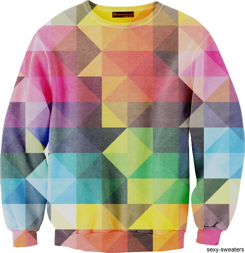 custom sweater geometric shapes triangles design