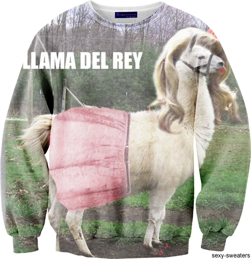 custom sweater llama del reiy design