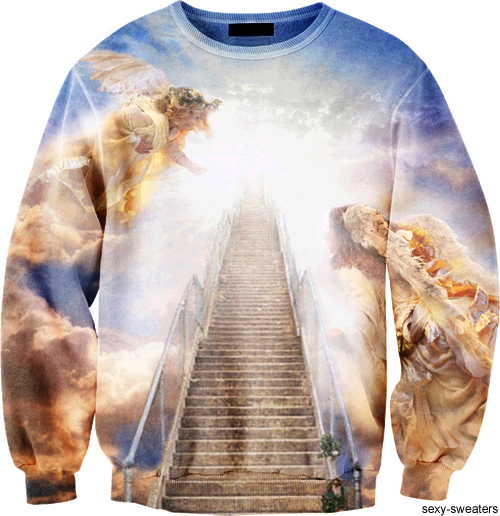 custom sweater stairs to heaven design
