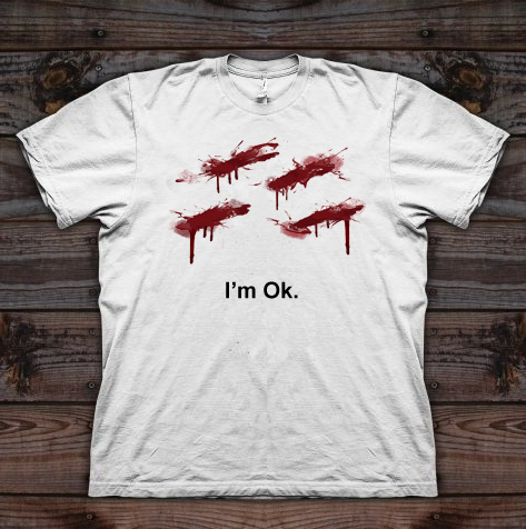 i'm ok knife cuts custom t-shirt design