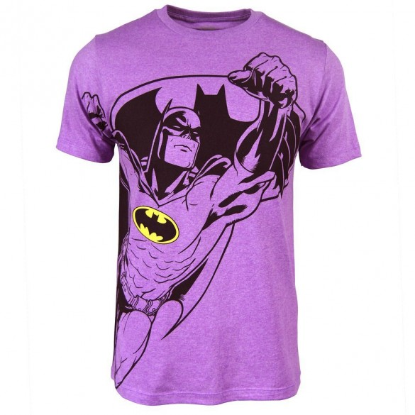 Batman Mens Neon Purple Heather Tee design