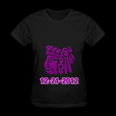Black Mayan-Head Women Custom  T-Shirt design