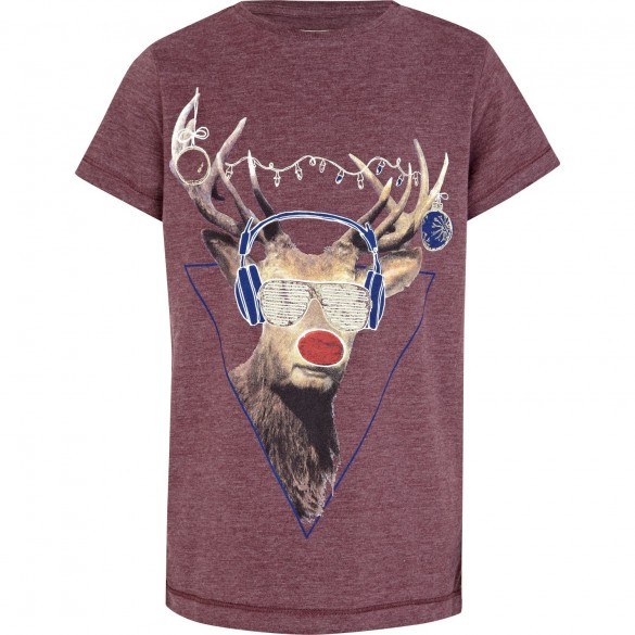 Boys Red Marl Reindeer Custom T-shirt Design