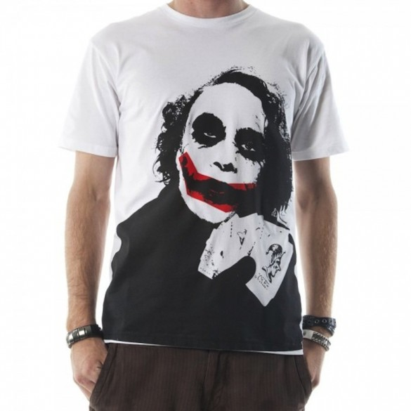Dark Knight Joker Face Mens White Tee custom t-shirt design