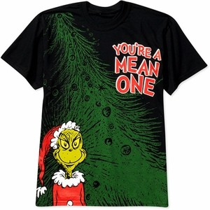 Dr. Seuss Grinch Mean One Mens T-Shirt Black