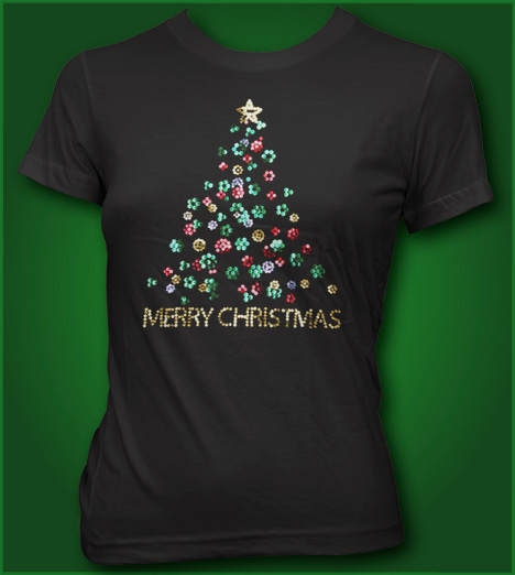 MERRY CHRISTMAS TREE SEQUENS T-shirt custom design