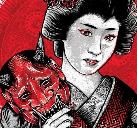 Oni Geisha Custom Tee Design Geisha
