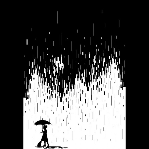 Pixel Rain custom tee design by Steven Toang
