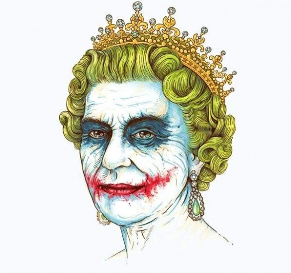 Queen Elizabeth Royal Family Joker white Tee custom design