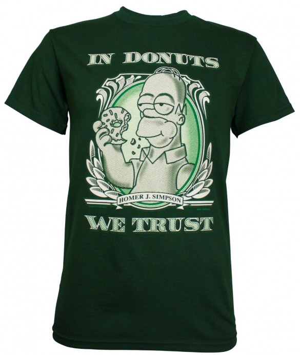 Simpsons Homer In Donuts We Trust Men&#039;s T-Shirt design