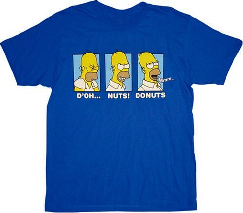 The Simpsons Homer D'oh Nuts Donuts Blue T-Shirt Tee design