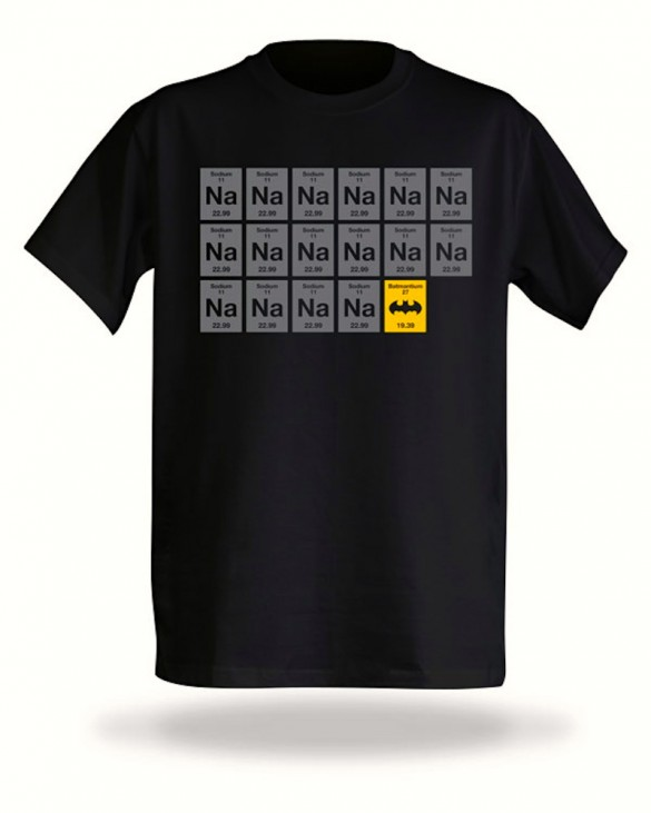 Think Geek Batman periodic table funny fun custom t-shirt design
