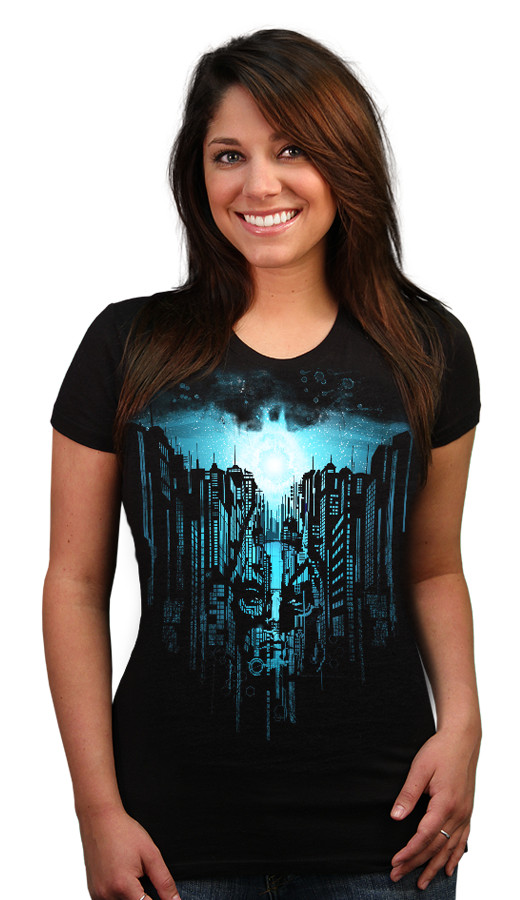 arise batman signal sky blue womens custom t-shirt design