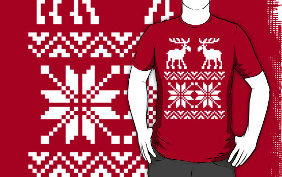 Moose Pattern Christmas custom tee design