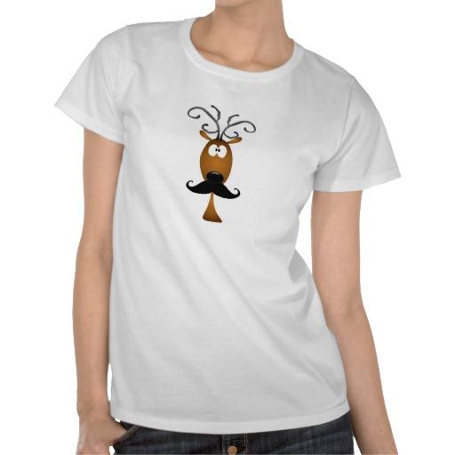 mustache reindeecustom t-shirt design