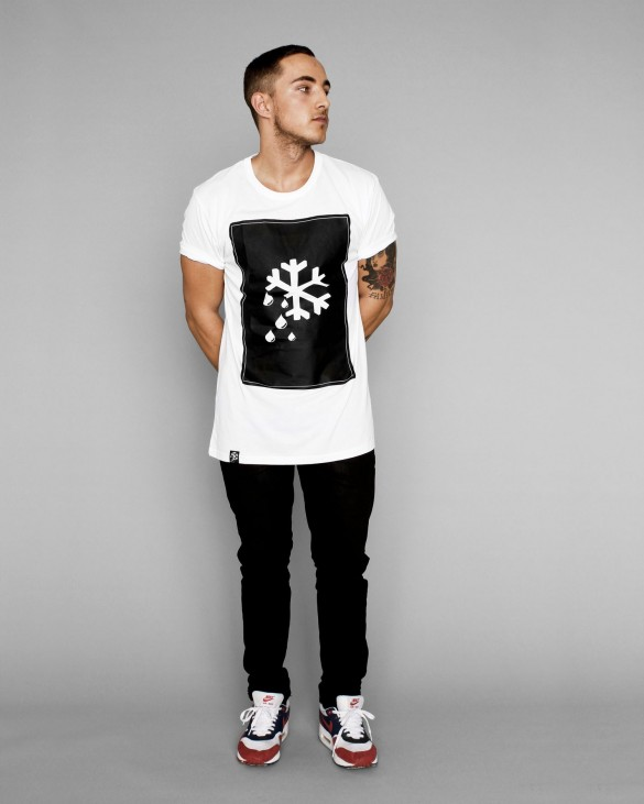 logo snow flake print men t -shirt design  black main white