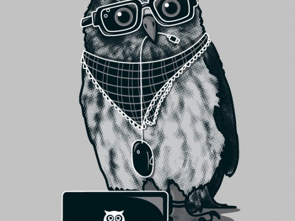 Limited edition smart owl t shirt design by recycledwax T shirt with owl design