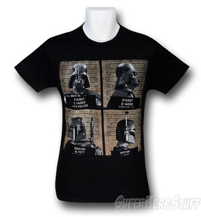 Star Wars Vader and Fett Mug Shots Custom T-shirt Design