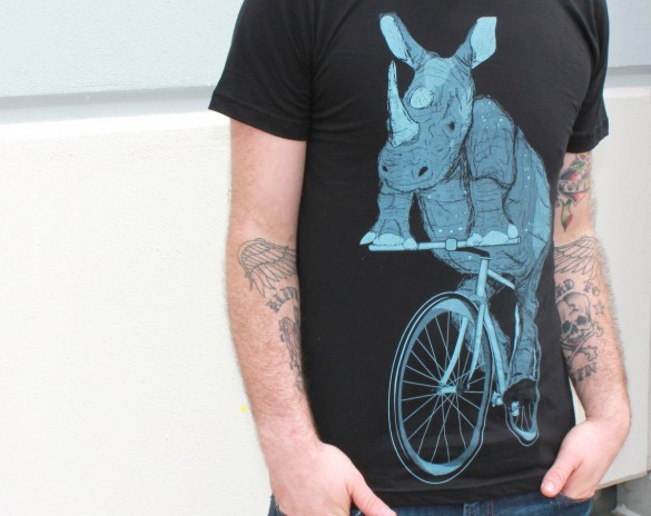 Rhinoceros on a Bike Custom T-shirt Design