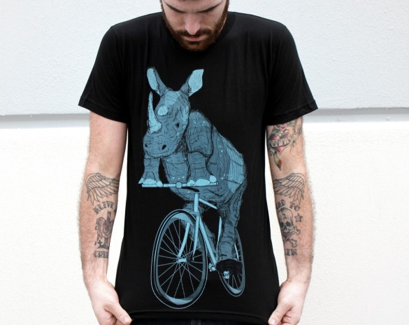 Rhinoceros on a Bike Custom T-shirt Design Tee