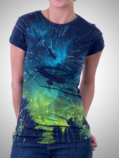 Female Twilight Rain T-shirt by AJ Dimarucot
