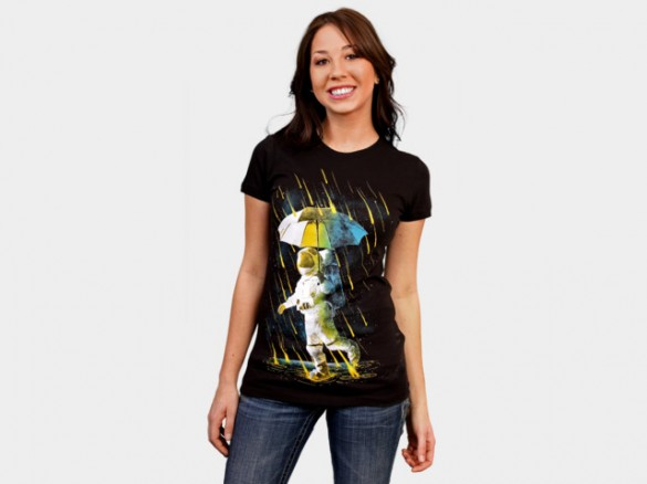 Daily Tee Meteor Shower In Space by alchemist  girl side