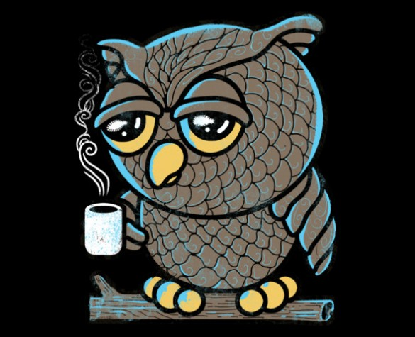 Daily tee owl i want is coffee t shirt design by qetza T shirt with owl design