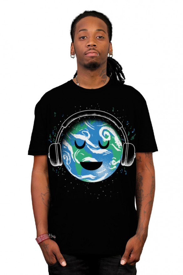 Daily Tee The whole earth loves music t-shirt design by biotwist boy
