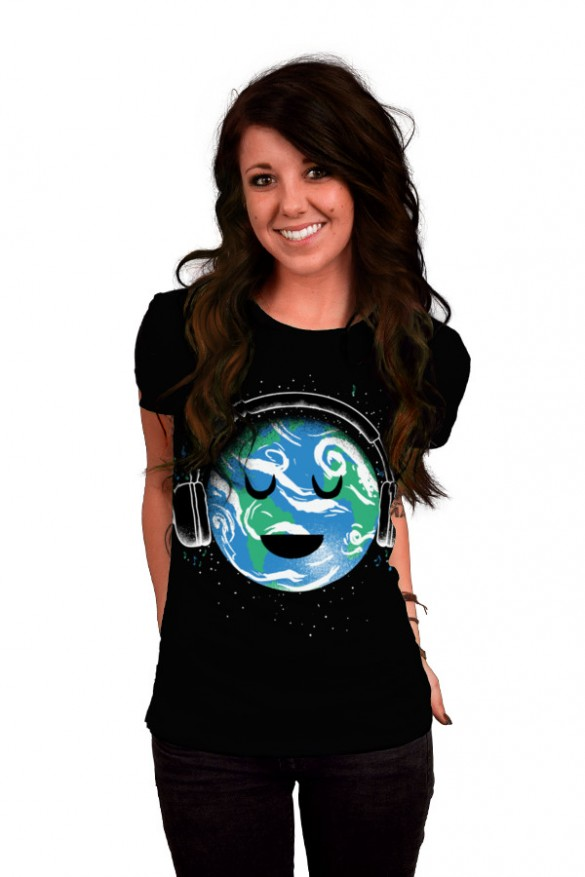 Daily Tee The whole earth loves music t-shirt design by biotwist girl