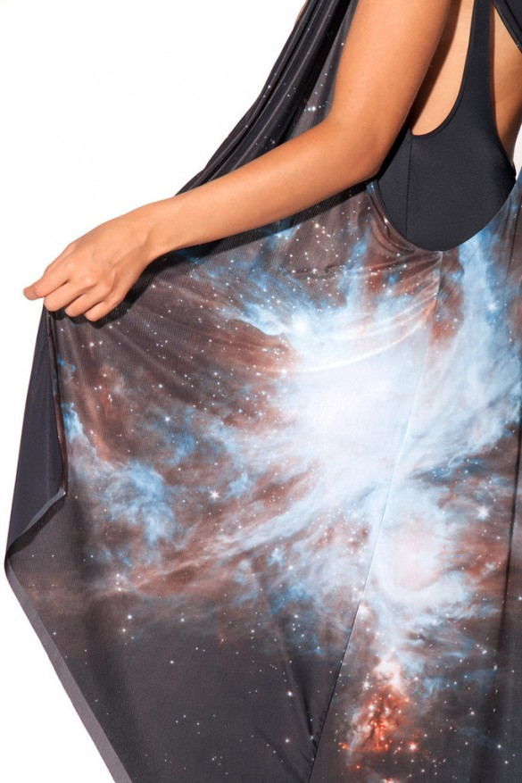Galaxy Black Hooded Cape design from blackmilkclothing close up