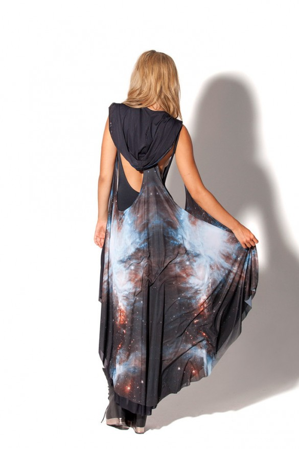 Galaxy Black Hooded Cape design from blackmilkclothing front