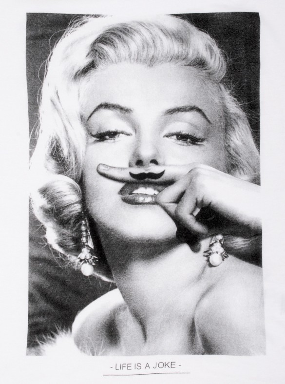 Marilyn Monroe Moustache t-shirt design by sixwhitingstreet design