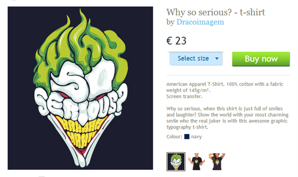 laFraise website Why so serious t-shirt design